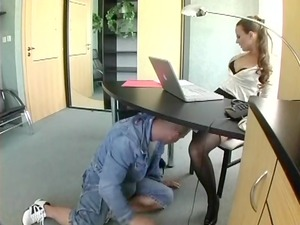 amateur assistant inside g-string drilling at the