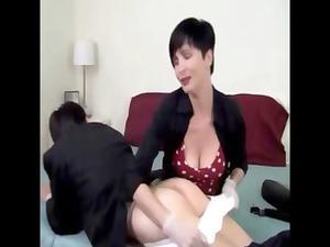 sweet short-haired brunette spanks her lovers ass