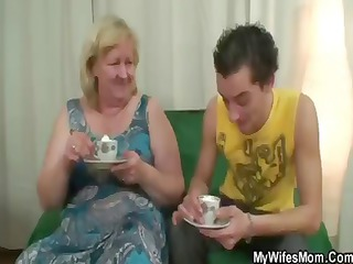 plump blonde old has tea and obtains nailed