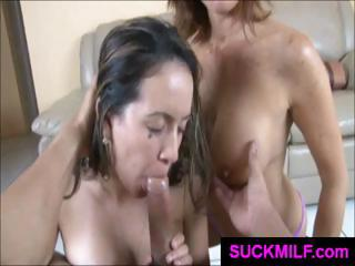 lady and young are sharing a dick and obtaining