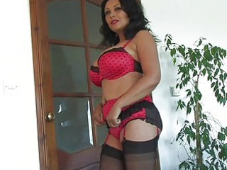 plump chested brown haired lady inside gstring