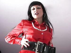 woman into satin pleasing with dildos