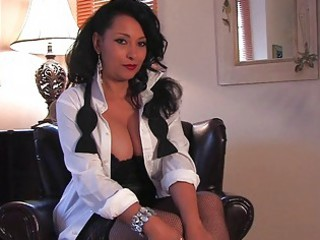 awesome black haired mature babe with very big