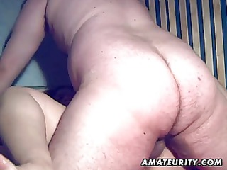 fat fresh wife licks and gang-bangs with cum