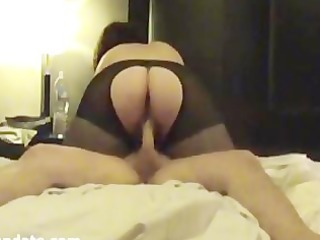 chubby lady with large arse drives hubbys penis