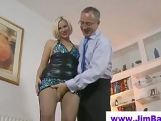 american lady fingering before old boy