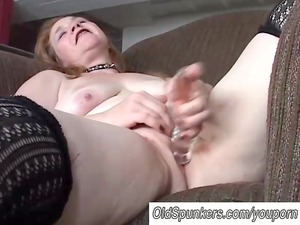 lovely grown-up lady has a chubby juicy vagina