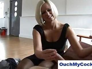 laughing lady into panties gives harsh handjob