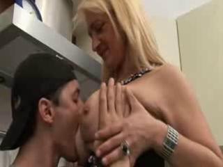 european woman and son