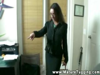 bureau matures jerking off colleague