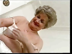 fat old granny pleases inside satin brief