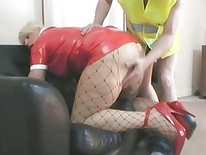 awesome bleached milf in latex appearance nailed