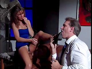 awesome brunette secretary play awesome legs like