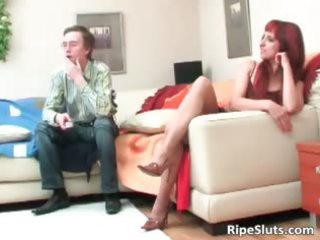 older  awesome redhaired bitch lick on large
