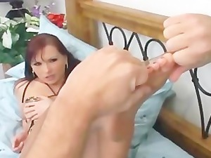 redhead drilling and feet obsess into ripped up