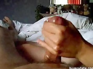 fresh wife gives handjob with big sperm