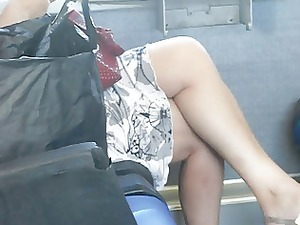 spy sexy older on the train