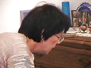 french elderly woman  cum on glasses