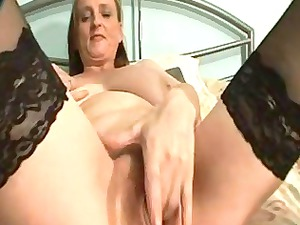 huge breasted elderly inside nylons hand pussy