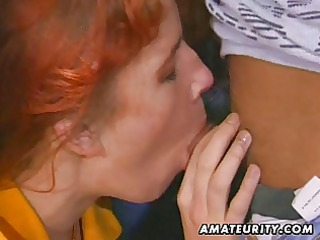 ginger fresh lady licks and gang-bangs with