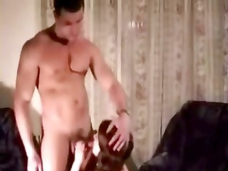 muscular russian man makes worship to her lady on
