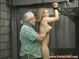 albino lady is tied up and obtains her arse