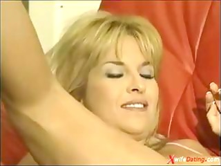 grownup wife drilled on yellow couch