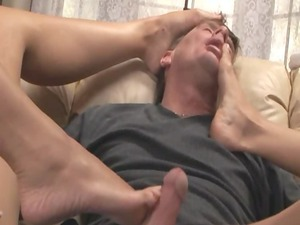 two blondes giving a desperate footjob in