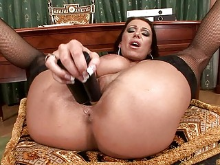 naughty lady pleases with devices