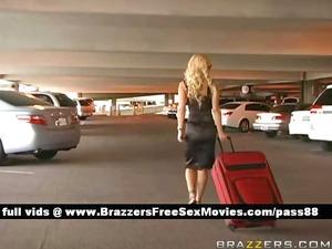 superb blonde girl arrive at airport customs