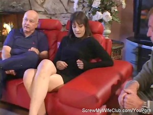 hubby leabes while his swinger wife screws a