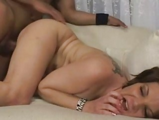 chubby chested brunette momma with tattoo takes