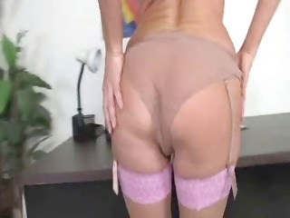 hot bleached milf inside thigh high nylons