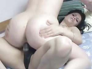 pale veronica fucking a milf with her strapon