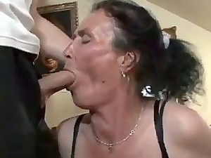 horny brunette old gets nasty pussy pounding
