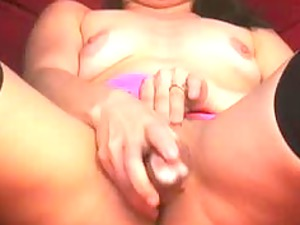 awesome woman brunette dildoing really hard