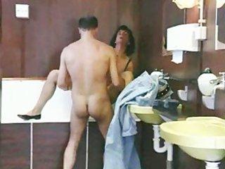 older  obtains a bathroom fucking!