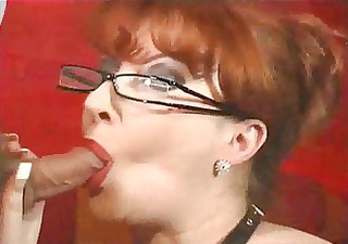 awesome redhead milf takes facial