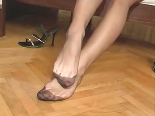 housewife pantyhose foot