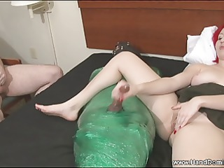 cuckold lover watches as his wife pleases various