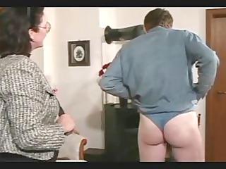 elderly spanks and straps the boy