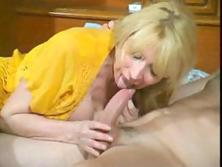 nasty cougar blonde whore eats his tool and