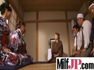 sweet japanese milf girl own gang-banged