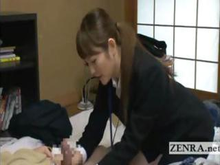 japan woman sextoy saleswoman gives old client a