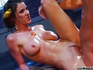 thin brown haired woman fuckstar with large chest