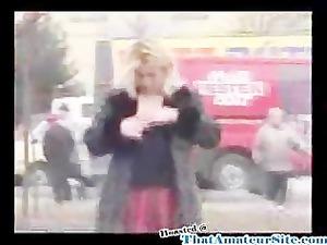 naughty whore pisses inside street
