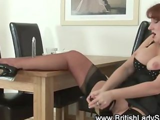 older  femdom redhaired plays  with shoe enjoy a