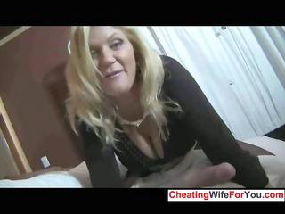 awesome mature babe gives super  handjob