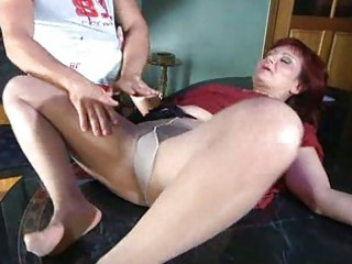 lewd mom with pantyhose tights stuffed under