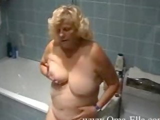 old teasing inside the bathroom